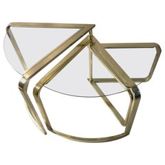 DIA hollywood regency brass and glass nesting wedge tables attributed to Milo Ba