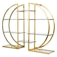 DIA Pair of Brass Semi-Circular Étagères