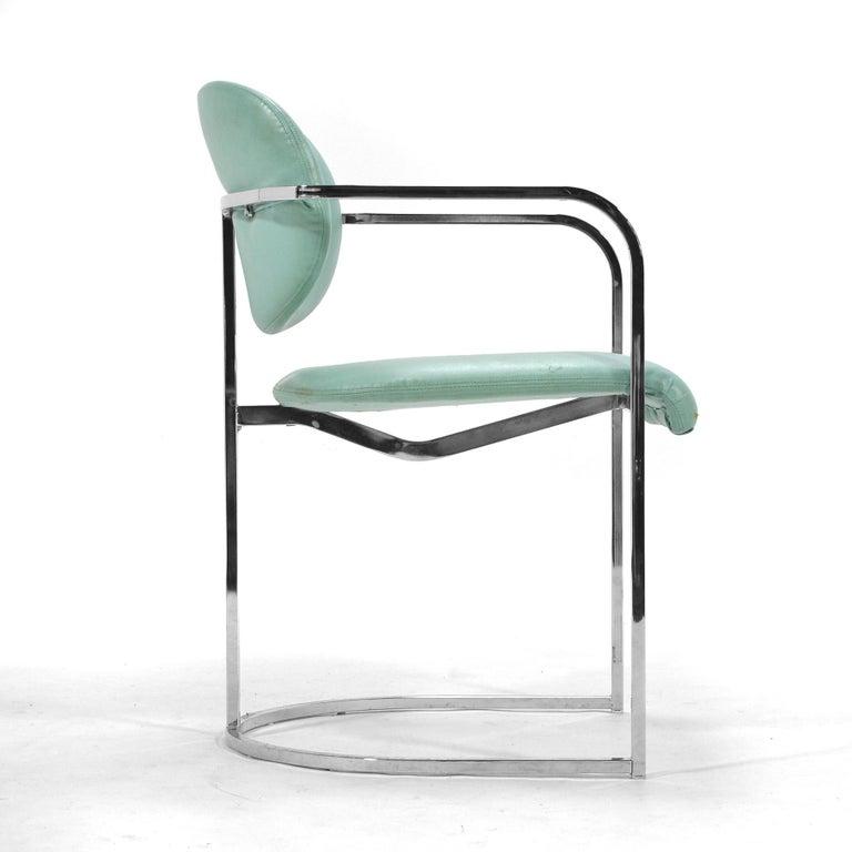 Mid-Century Modern DIA Set of Six-Chrome Framed Armchairs For Sale