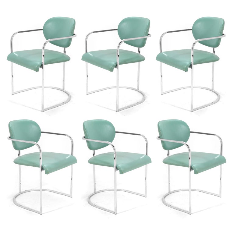 DIA Set of Six-Chrome Framed Armchairs For Sale 3