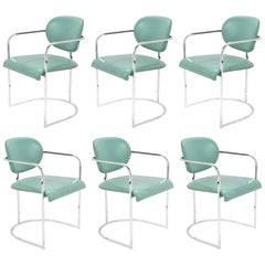 DIA Set of Six-Chrome Framed Armchairs