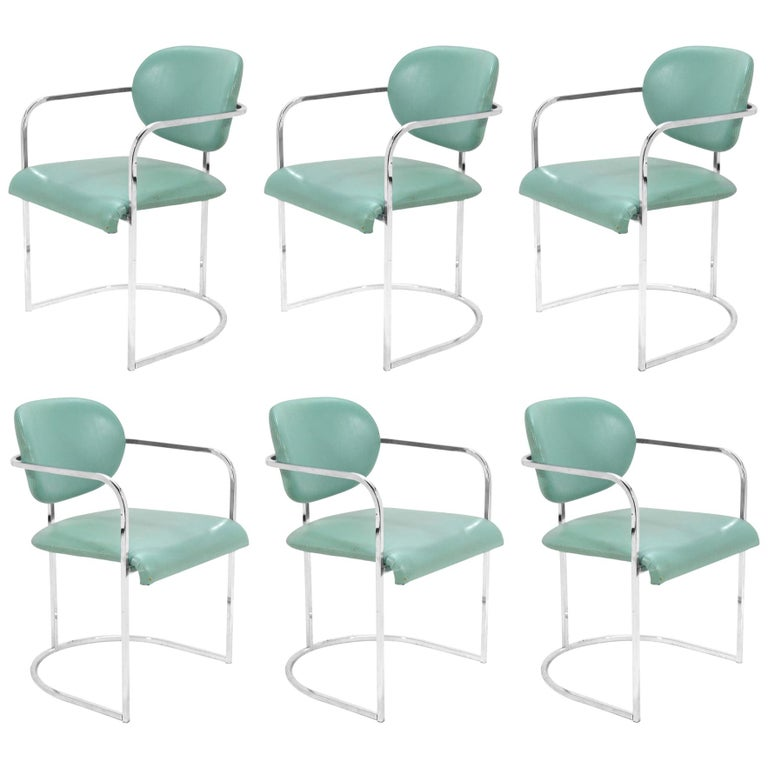 DIA Set of Six-Chrome Framed Armchairs For Sale