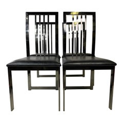 Dia Stylish Vintage Chrome High Back Dining Chairs Baughman Style, Set of 4