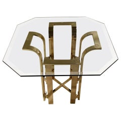 DIA Tulip Form Side Table w/ Brass-Plated Metal Topped w/ Octagon Beveled Glass