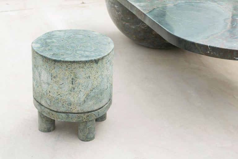 Georgian Diabase Volcanic Rock Side Table, Unique Hand-Sculpted, Rooms For Sale