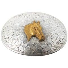 Diablo Sterling Silver with Brass Horse Head Belt Buckle