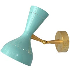 Diabolo Sconce in the Style of Stilnovo in Turquoise