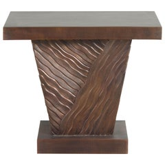 Diagonal Cascade Side Table, Antique Copper by Robert Kuo, Hand Repoussé