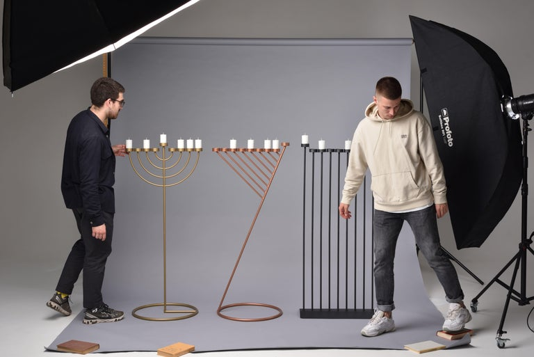 Modern DIAGONAL candleholde 130cm, minimalistic Hanukkah menorah by Ivan Voitovych For Sale