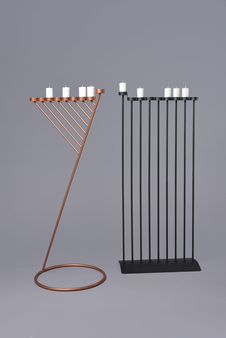Powder-Coated DIAGONAL candleholde 130cm, minimalistic Hanukkah menorah by Ivan Voitovych For Sale