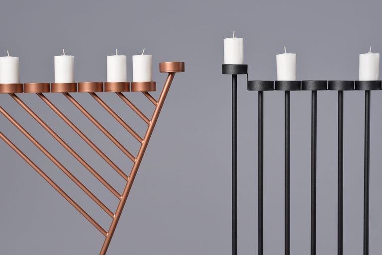 DIAGONAL candleholde 130cm, minimalistic Hanukkah menorah by Ivan Voitovych In New Condition For Sale In Kyiv, UA
