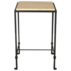 'Diagramme' Wrought Iron and Travertine Drink Table by Design Frères