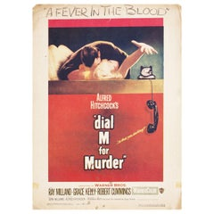 """Dial M for Murder"" 1954 U.S. Window Card Film Poster"