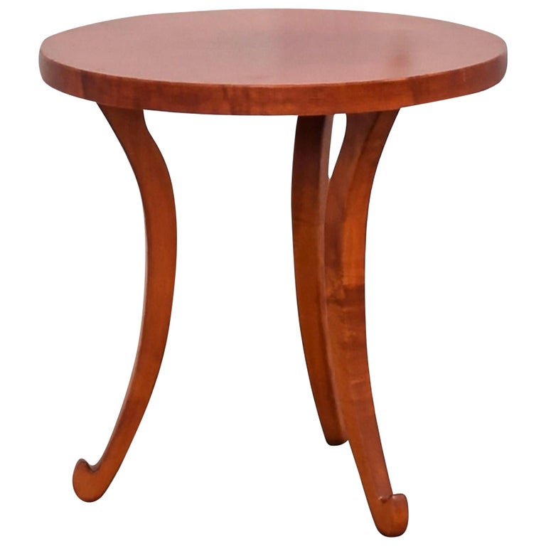Dialogica New York Curly Maple Handmade Postmodern Accent Round Side Table  For Sale