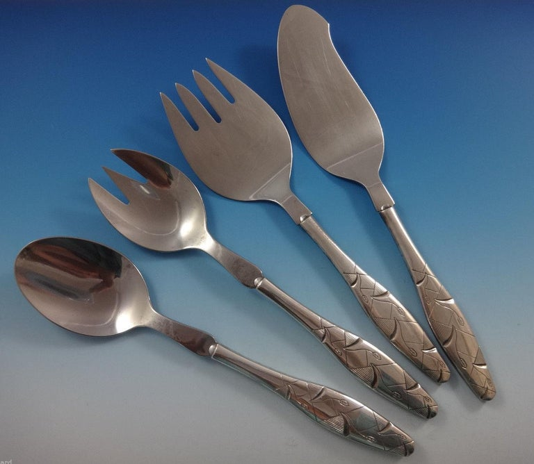 Diamant by A. Dragsted Danish Sterling Silver Flatware Set 117 Pcs Unique Modern For Sale 6