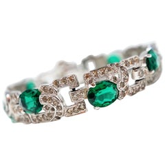 Diamanté and Emerald Crystal Art Deco Tennis Bracelet by Mazer Brothers, 1940s