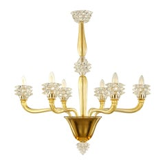 Italian Chandelier 6 arms amber and clear Rostri Murano Glass by Multiforme