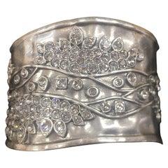 Diamante Hinged Cuff Sparkling Crystals Statement Bracelet