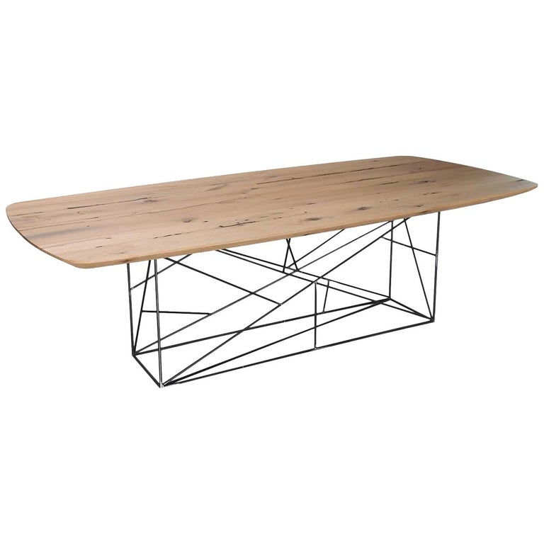 Diamante Table in Iron and Oak For Sale