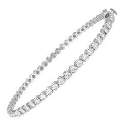 Diamonв Tennis Bangle Bracelet 18K White Gold Diamond 0.98 Cts/19 Pcs