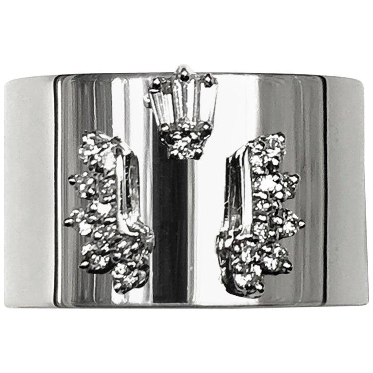 Diamond 0.250 Carat Platinum Wide Band Ring For Sale