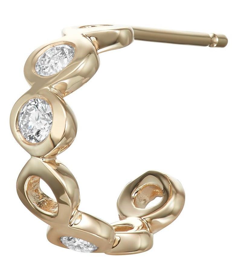 Round Cut Diamond 0.32 Carat 14 Karat Yellow Gold Huggie Earrings For Sale