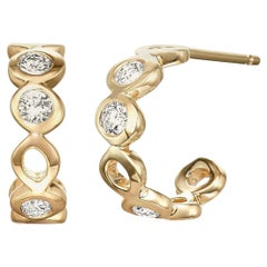 Diamond 0.32 Carat 14 Karat Yellow Gold Huggie Earrings