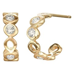 Diamond 0.32 Carat 14 Karat Yellow Gold Huggie Earrings