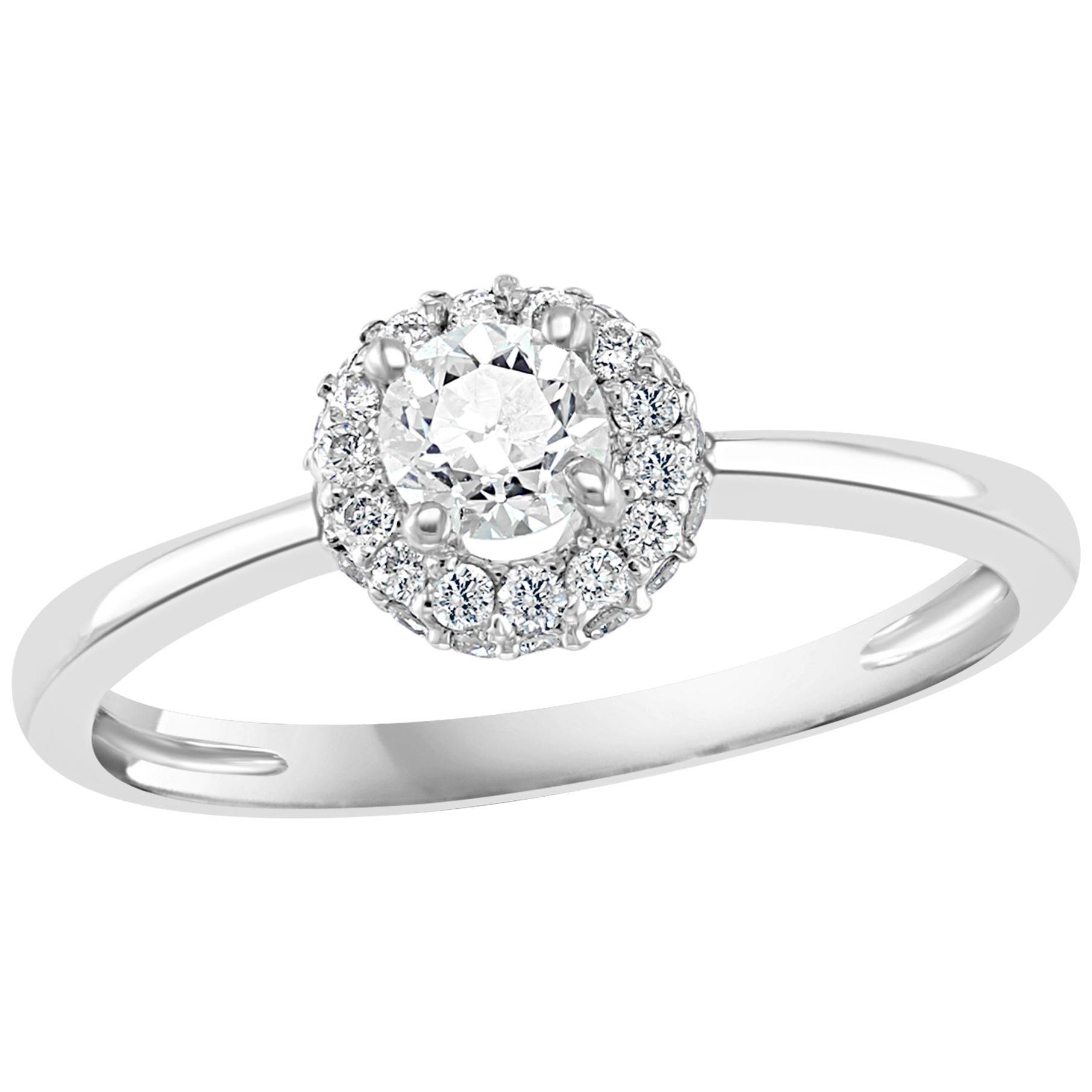 Diamond 0.6 Carat Traditional Ring/Band 14 Karat White Gold, Halo Ring