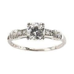 Diamond 0.61 Carat Platinum Ring, Circa 1940