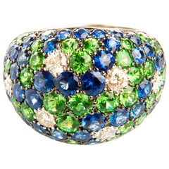 Diamond 0.62 Ct Sapphire 4.31 Carat Tsavorite 3.13 Carat Gold 18 Karat Dome Ring
