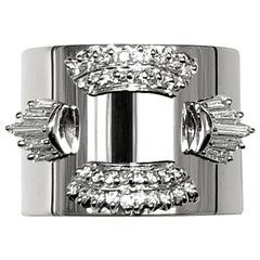 Diamond 0.650 Carat Platinum Wide Band Ring