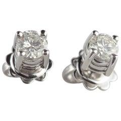 Diamond 0.67 Carat 18 Karat White Gold Intini Engagement Italian Stud Earrings