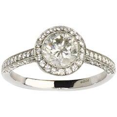 Diamond 0.94 Carat Platinum with Diamond Halo Ring