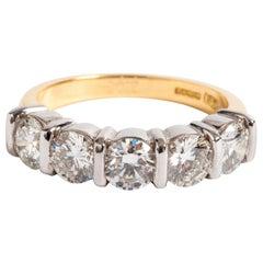 Diamond 1/2 Eternity Ring, 18 Karat Yellow Gold, 5 Brilliant Cut Diamonds