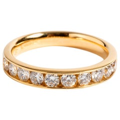 Diamond 1/2 Eternity Ring, 9 Karat Yellow Gold Band, 10 Diamonds