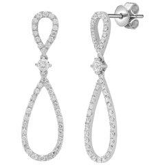 Diamond 1 Carat Round Cut 18 Karat White Gold Drop Infinity Dangle Stud Earrings