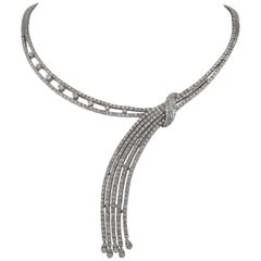 Diamond 10.50 Carat White Gold Waterfall Necklace