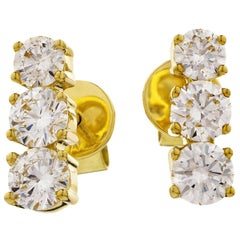 Diamond 1.10 Carat Three-Stone Round Cut 18 Karat Yellow Gold Drop Stud Earrings