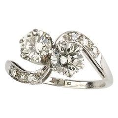Diamond 1.30 Carat Platinum Cross-Over Ring