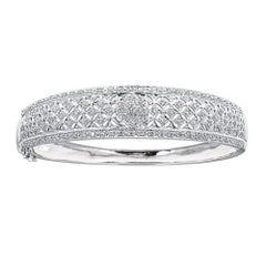 0.95 Carat Round Cut Diamond Accent Cuff Bracelet in 14 karat White Gold