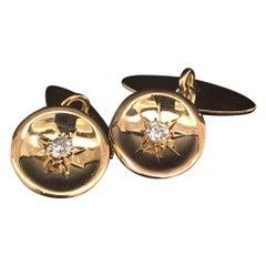 Diamond 14 Karat Gold Cufflinks Certified