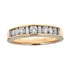 1 TCW Round and Baguette Diamond Wedding Band in 14 karat Yellow Gold Ring