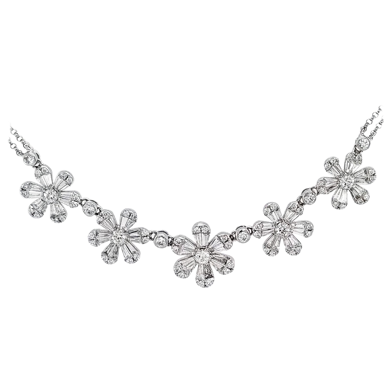 Diamond 14 Karat Gold Flower Necklace