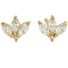 Diamond 14 Karat Gold Leaf Stud Earrings