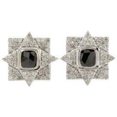 Diamond 14 Karat Gold Square Stud Earrings