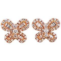 Diamond 14 Karat Rose Gold Butterfly Stud Earrings
