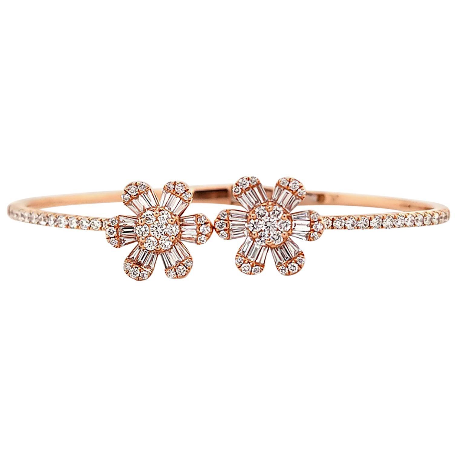 Diamond 14 Karat Rose Gold Flower Bangle