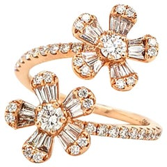 Diamond 14 Karat Rose Gold Flower Ring