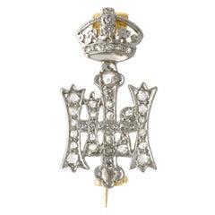 Diamond, 14 Karat White Gold Highland Light Infantry Brooch, Antique, circa 1920
